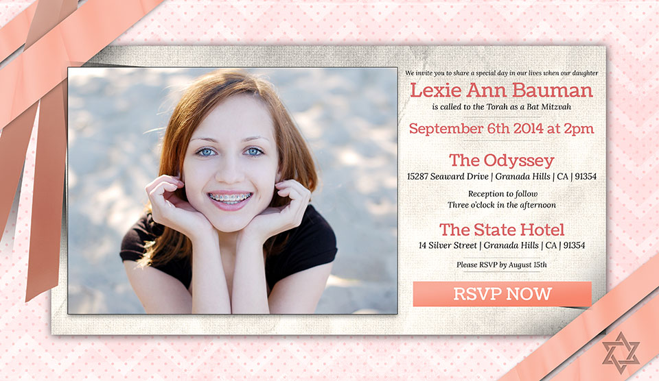 Online Bat Mitzvah Photo Invitation Bow and Ribbons