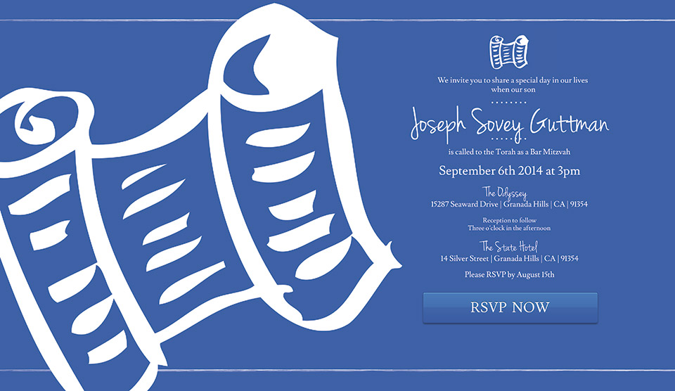 bar mitzvah invitation blue torah mitzvites