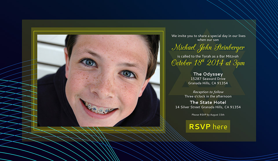 Online Bar Mitzvah Photo Invitation Sound Waves