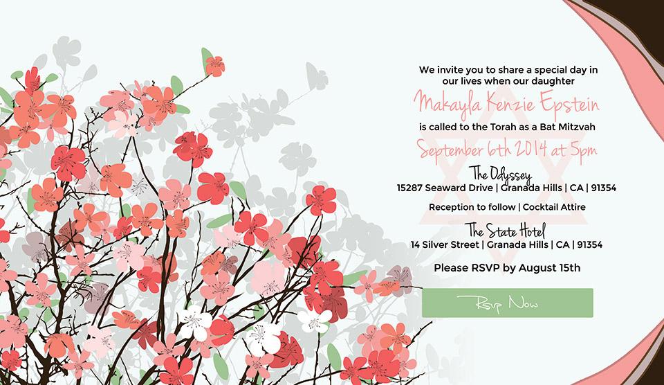 Online Bat Mitzvah Invitation Timeless Garden
